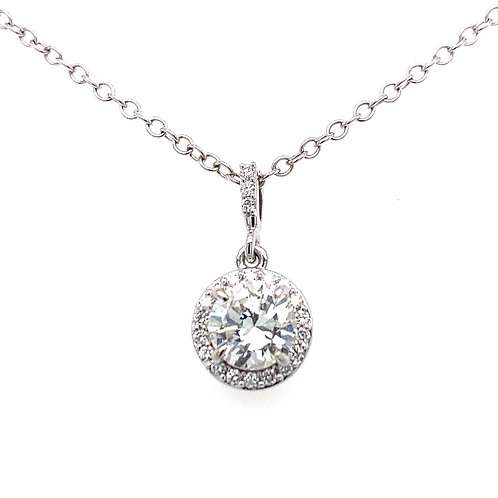 14kt White Gold Round Diamond Halo Pendant