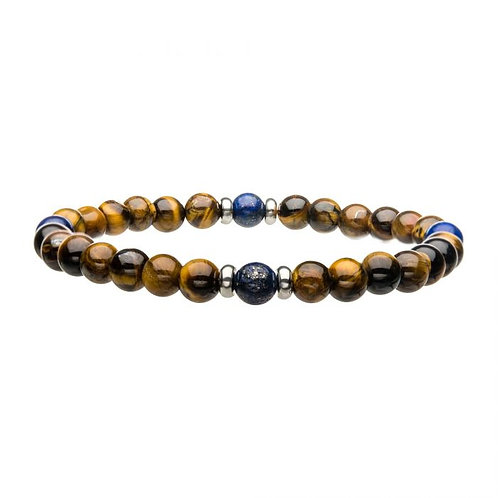 Tiger Eye/Lapis Bead Bracelet