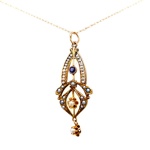 Estate 14kt Yellow Gold Ornate Seed Pearl With Iolite Pendant