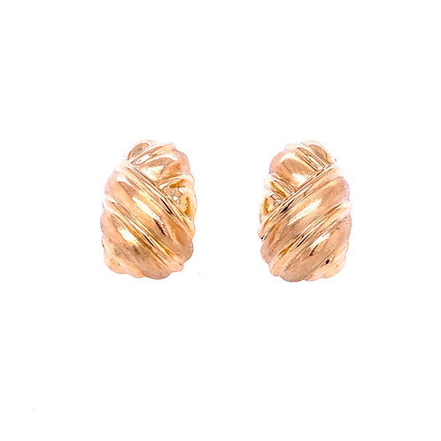 Estate 14kt Yellow Gold Puff Designed Earrings