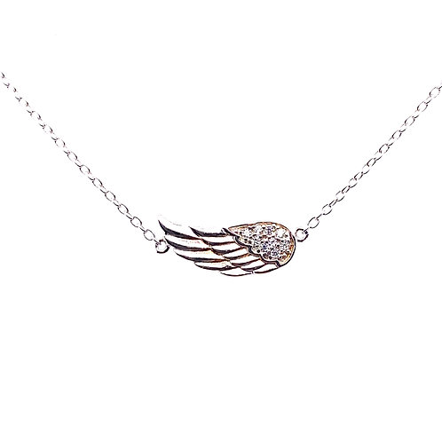 Sterling Silver Cubic Zirconia Angel Wing Pendant