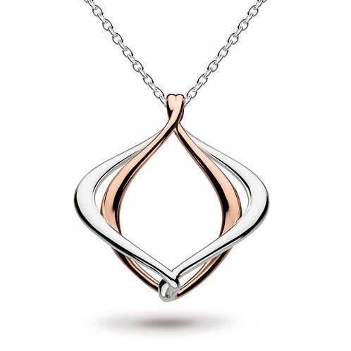 Sterling Silver Entwine Alicia Rose Gold Plated Necklce