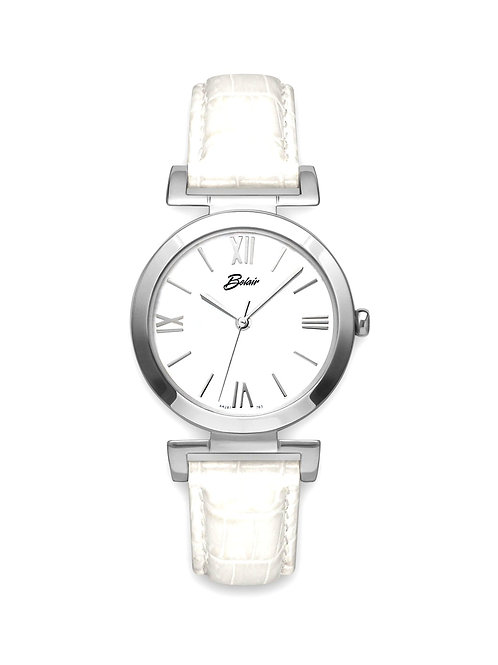 "White Belair ""Fliegauf"" White Leather Lady's Watch"