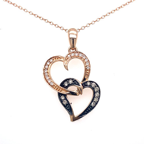 Estate 14kt Rose Gold Double Heart Chocolate And White Diamonds Pendant
