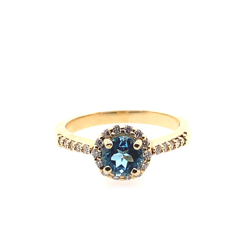 14kt Yellow Gold Blue Topaz And Diamond Halo Ring