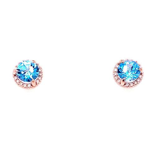 14kt Yellow Gold Blue Zircon And Diamond Halo Earrings