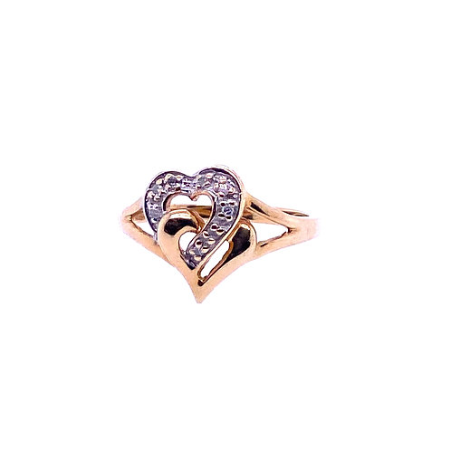 Estate 10kt Yellow Gold Estate Double Heart And Diamond Ring
