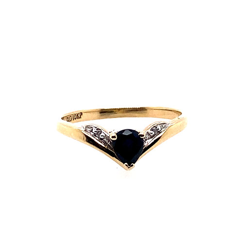 Estate 10kt Yellow Gold Sapphire Lady's Ring