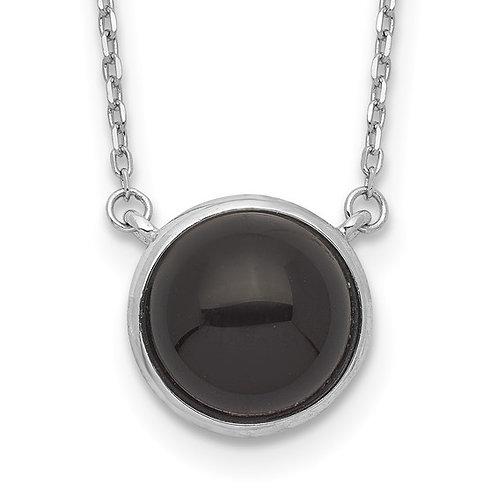 Sterling Silver Black Onyx Cabochon Pendant