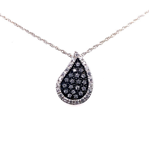 Sterling Silver Cubic Zirconia Black Tear Drop Pendant