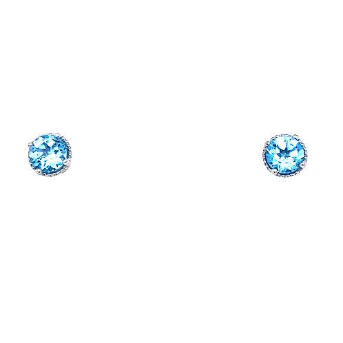 14kt White Gold Blue Topaz Milgrain Halo Earrings