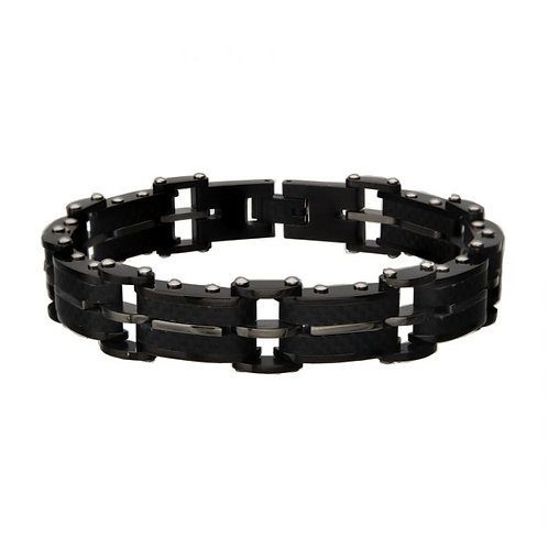 Black Stainless Steel With Carbon Fiber Link Bracelet
