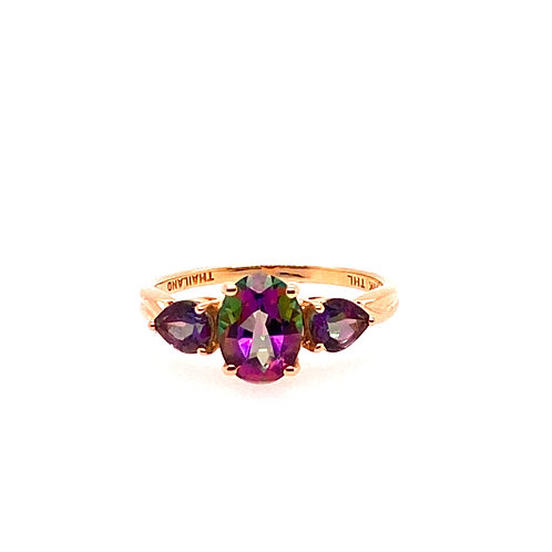 Estate 10kt Yellow Gold Mystic Topaz Ring