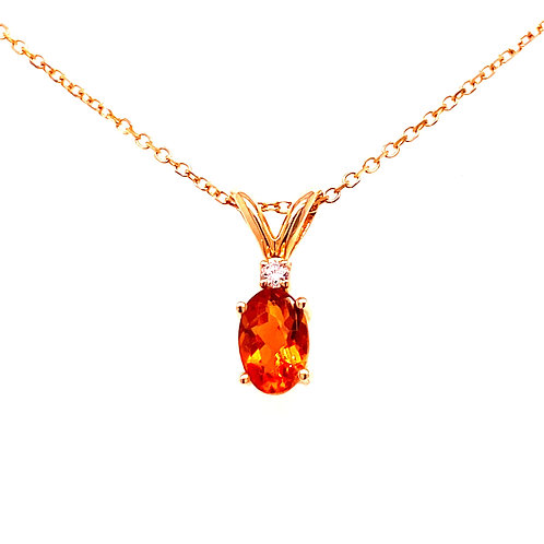 14kt Yellow Gold Oval Citrine And Diamond Pendant