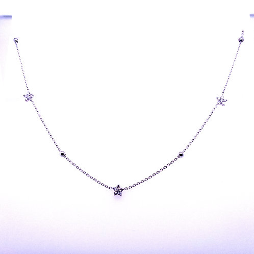 14kt White Gold Diamond Star/Bead necklace
