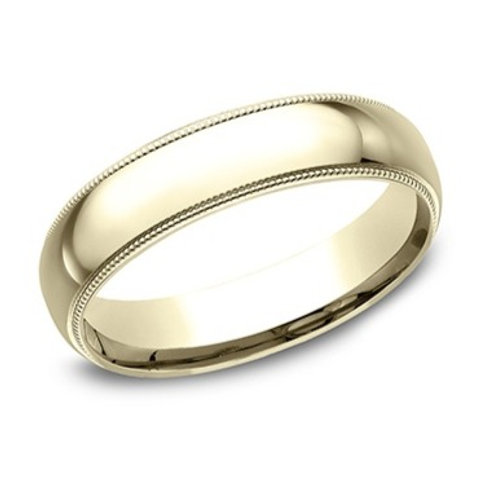 14kt Yellow Gold Men's Comfort Fit Milgrain Edge Wedding Band