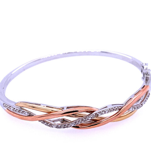 Sterling Silver/10kt Diamond Twist Bangle Bracelet