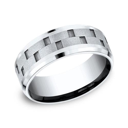 Cobalt Wedding Band with Bricks Design