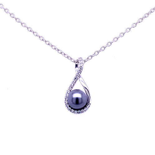 Sterling Silver Dyed Black Freshwater Pearl Cubic Zirconia Pendant