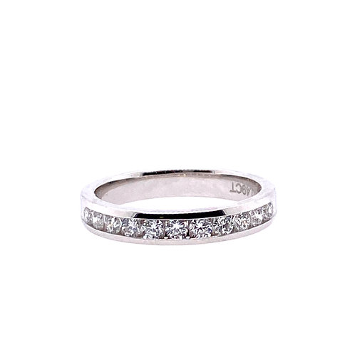 14kt White Gold 11 Stone Channel Set Diamond Anniversary Band