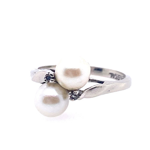 Estate 14kt White Gold Twin Pearl And Diamond Ring