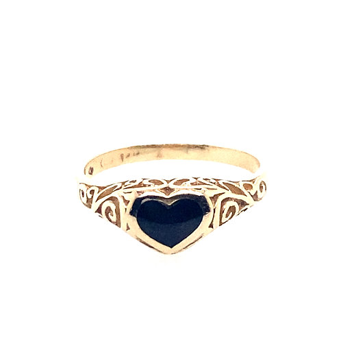 Estate 14kt Yellow Gold Black Onyx Heart Ring