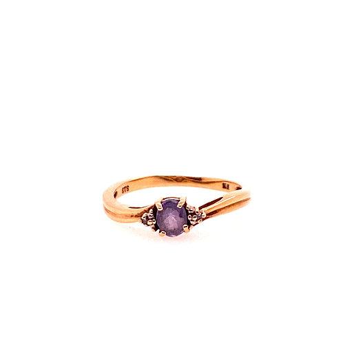 Estate 10kt Yellow Gold Tanzanite And Diamond Ring