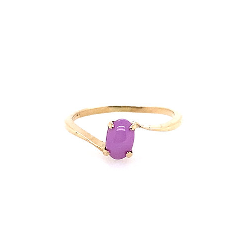 Estate 10kt Yellow Gold Synthetic Star Pink Stone Ring