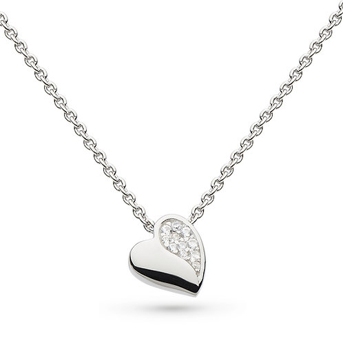 Sterling Silver Miniature Sparkle CZ Sweet Heart Pendant