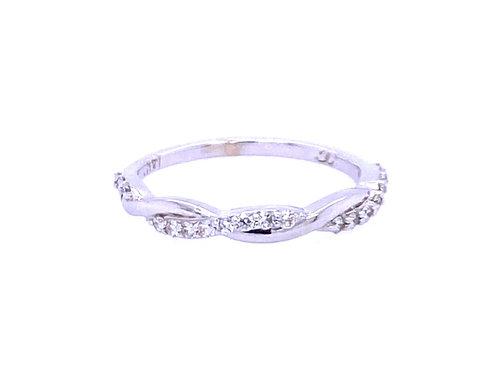 14kt White Gold Diamond Twist Wedding Band