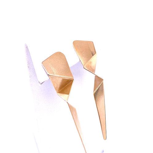 Estate 14kt Yellow Gold Geometric Shape Long Earrings