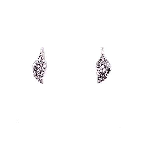 Sterling Silver Cubic Zirconia Double Leaf Design Earrings