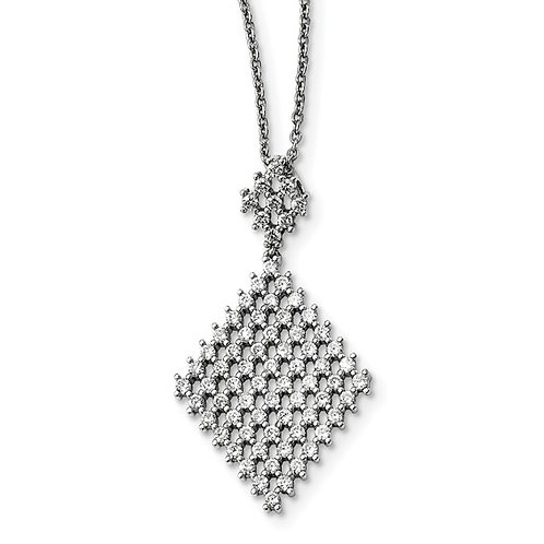 Sterling Silver Cubic Zirconia Embers Diamond Shape Fancy Pendant