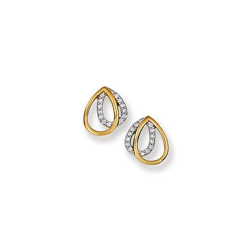 Sterling Silver Two Toned Double Cubic Zirconia Tear Drop Earrings