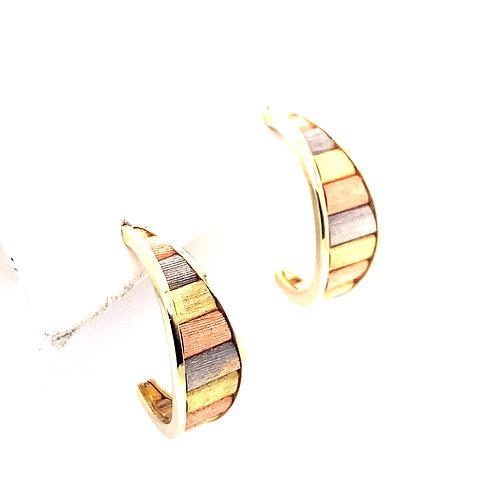 "Estate 14kt Tri Gold ""J"" Hoop Style Earrings"