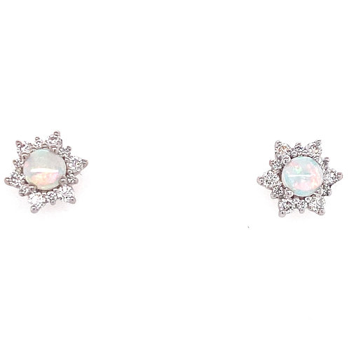 14kt White Gold Opal And Diamond Halo Earrings