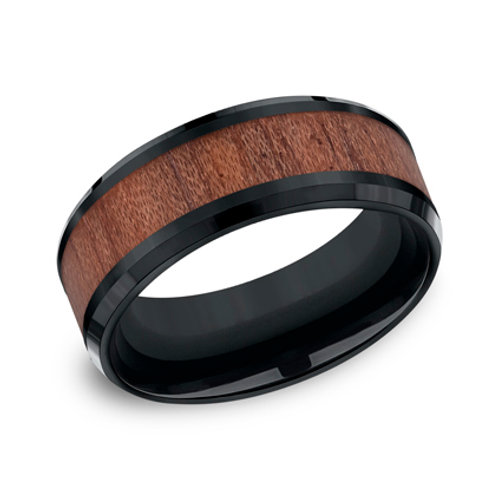 Black Cobalt Wedding Band with Inlaid Bloodwood