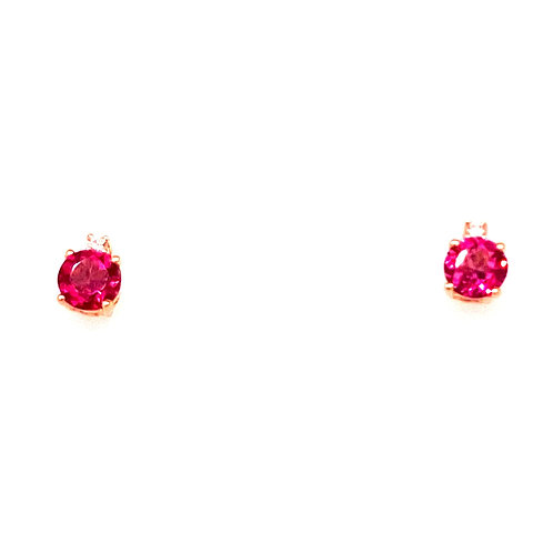 14kt Yellow Gold Rhodalite Garnet And Diamond Earrings