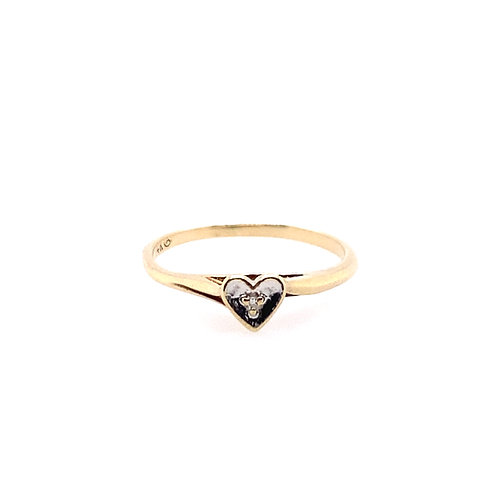 Estate 14kt Yellow Gold Heart Ring With Diamond