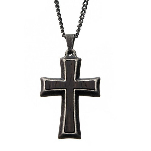 Stainless Steel Antiqued Cross With Wood Grain Design Necklace