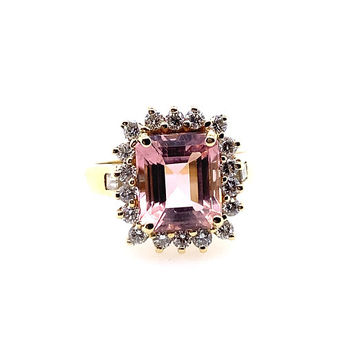 Estate 14kt Yellow Gold Pink Topaz And Cubic Zirconia Lady's Ring
