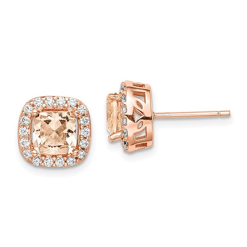Sterling Silver Rose Plated Cubic Zirconia Pink Halo Stud Earrings