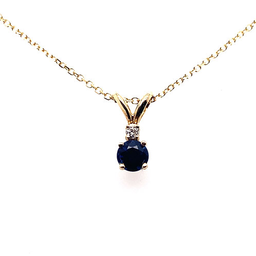 14kt Yellow Gold Blue Sapphire And Diamond Pendant