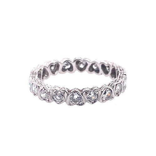Estate Platinum Diamond Heart Shape Eternity Ring