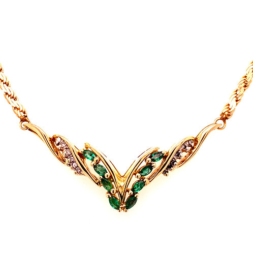 "Estate 14kt Yellow Gold Emerald And Diamond Fancy Style ""V"" Necklace"
