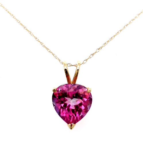 Estate 14kt Yellow Gold Pink Topaz Heart Pendant