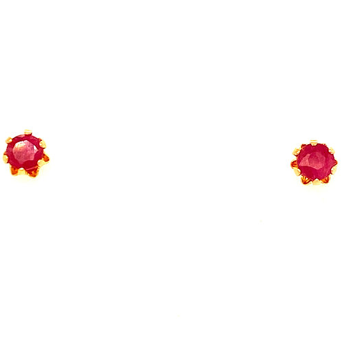 Estate 14kt Yellow Gold Small Ruby Stud Earrings