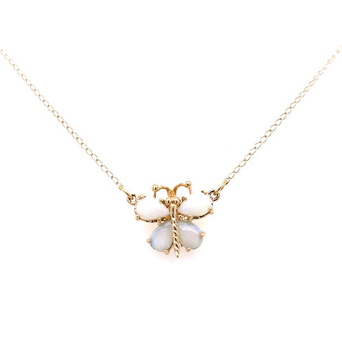 Estate 14kt Yellow Gold Opal Butterfly Necklace