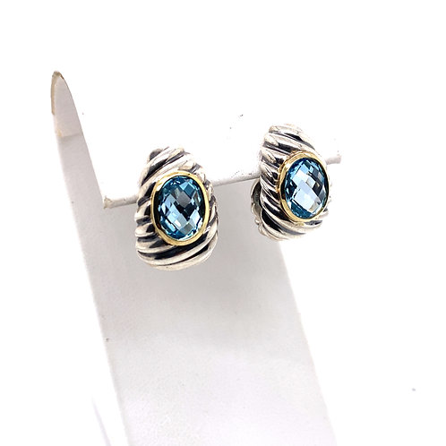 Estate Sterling Silver/18kt Yellow Gold David Yurman Topaz Cable Hoop Earrings
