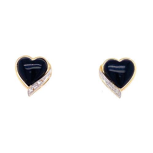 Estate 14kt Yellow Gold Black Onyx Heart Earrings With Diamonds